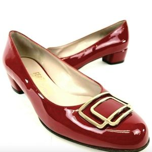Salvatore Ferragamo Red Patent Leather Pumps Shoes